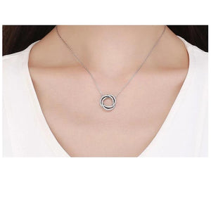 Real 925 Sterling Silver Minimalism Elegant Round Circle Clear CZ Pendant Necklaces Sterling Silver Jewelry