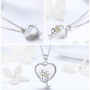 925 Sterling Silver Couple Cat Necklaces Pendant Women Sweet Heart Sterling Silver Jewelry Collar