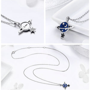 Genuine 925 Sterling Silver Secret Planet Sparkling Star Pendant Necklace Women Sterling Silver Jewelry