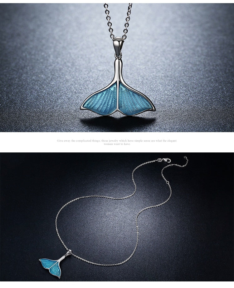Whale's Tail Mermaid Pendant Necklace - 925 Sterling Silver, Blue Enamel