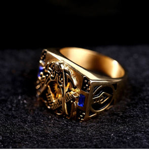 Freemasonry Retro Ring With Egyptian Ornaments