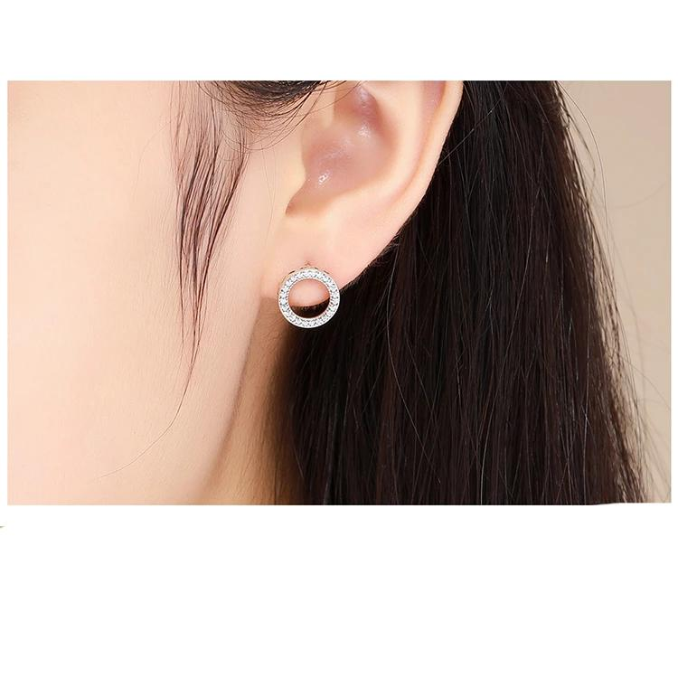Luminous Round Circle Stud Earrings - 925 Sterling Silver