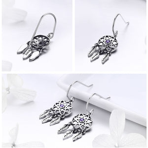 Genuine 100% 925 Sterling Silver Dream Catcher Holder Drop Earrings for Women Sterling Silver Jewelry