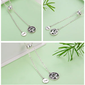 Genuine 925 Sterling Silver Tree of Life House Letter Link Chain Necklaces Pendants Authentic Silver Jewelry