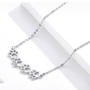 Dog and Cat Paw Silver Choker Necklace Women 925 Sterling Silver Cat Pet Footprint Short Accessories