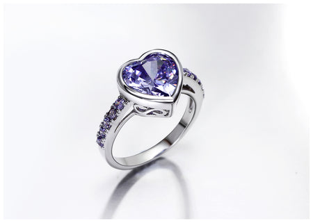 Purple Lover Heart Zircon Rings For Women - GiftWorldStyle - Luxury Jewelry and Accessories