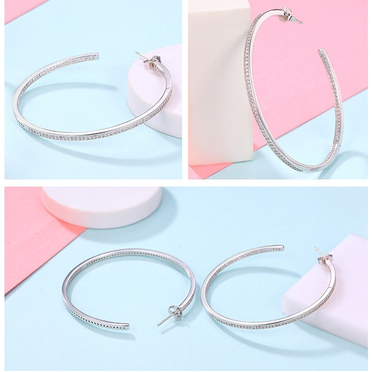Collection Silver Color Luminous Clear CZ Circle Hoop Earrings Women Fashion Jewelry