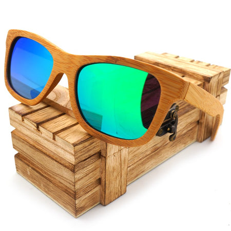 Vintage Bamboo Wooden Sunglasses Handmade Polarized Mirror Eyewear