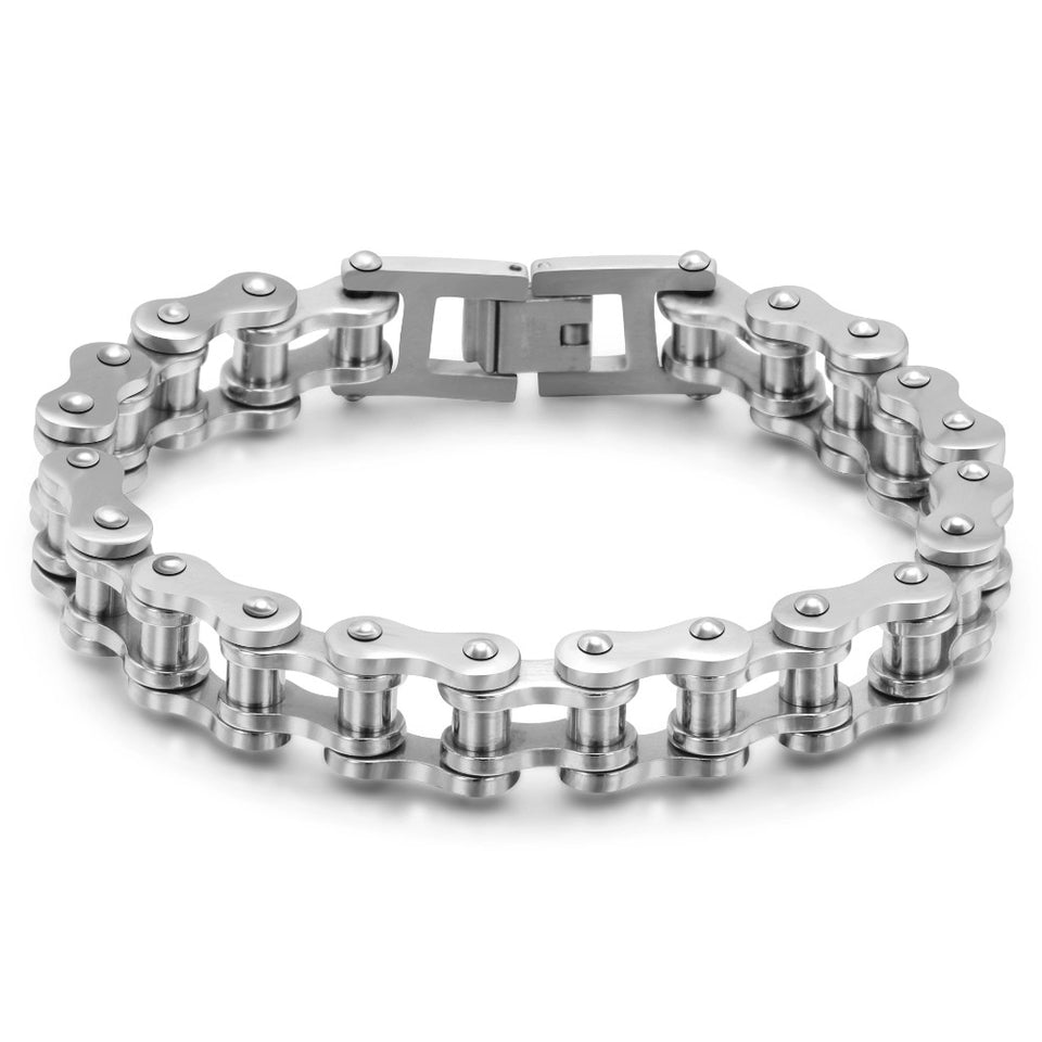 Punk Motorcycle Bikers Mens Bracelet - 316L Stainless Steel