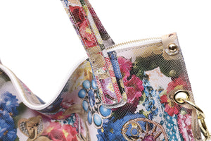 Floral Blossom Bag With Real Shiny Leather