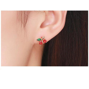 Exquisite Red Cherry Flower - 925 Sterling Silver