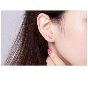 925 Silver Waving Curves Line Small Stud Earrings for Women Minimalist Fine Jewelry Accessories