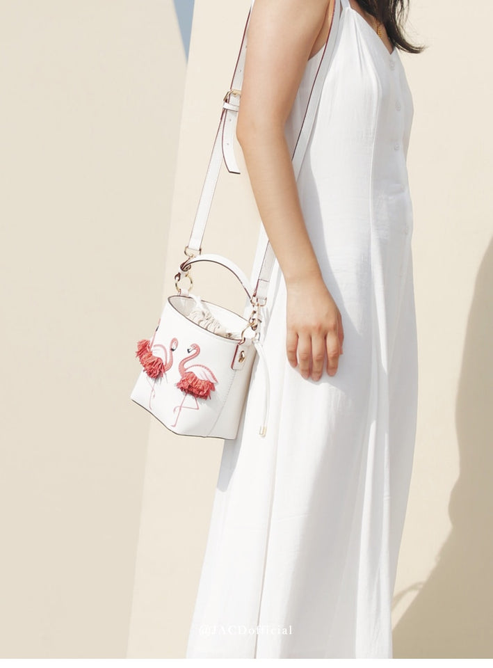 Flamingo Bucket Bag With Two Handle And Fringe - GiftWorldStyle - Luxury Jewelry and Accessories