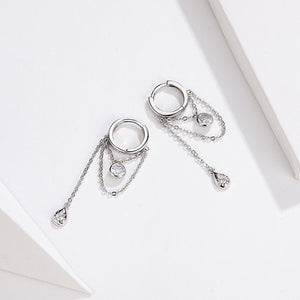 Waterdrop Round Geometric Chain Dangle Earrings for Women Sterling Silver Female Jewelry