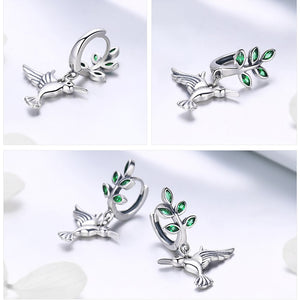Hummingbirds Bird Stud Earrings for Women - 925 Sterling Silver