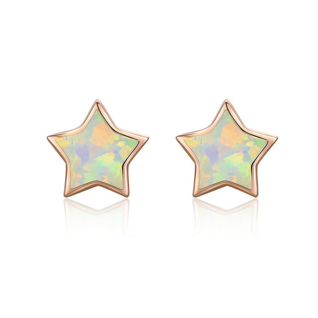 Cute Cat Ears Big Stone Small Stud Earrings - 925 Sterling Silver