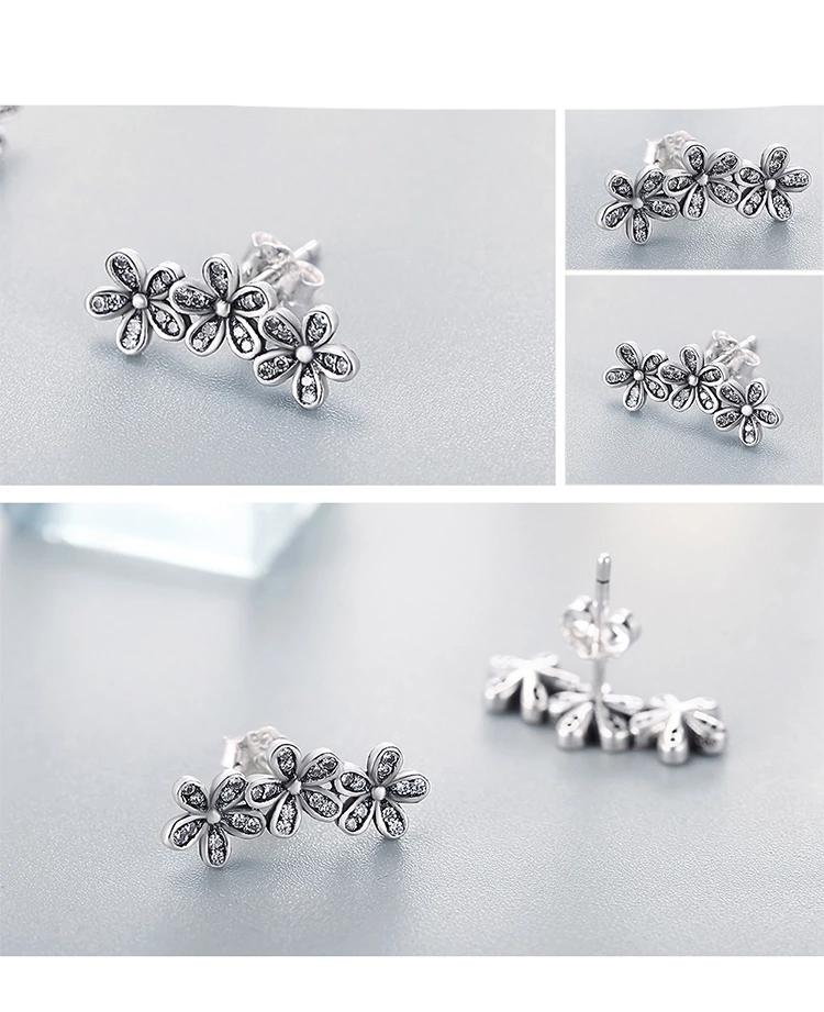 Authentic 925 Sterling Silver Dazzling Daisies Clear CZ Stud Earrings for Women Fine Jewelry