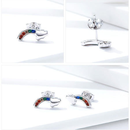 Colorful Rainbow and Cloud Stud Earrings - 925 Sterling Silver