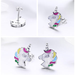 100% 925 Sterling Silver Colorful  Memory Stud Earrings Women Sterling Silver Jewelry