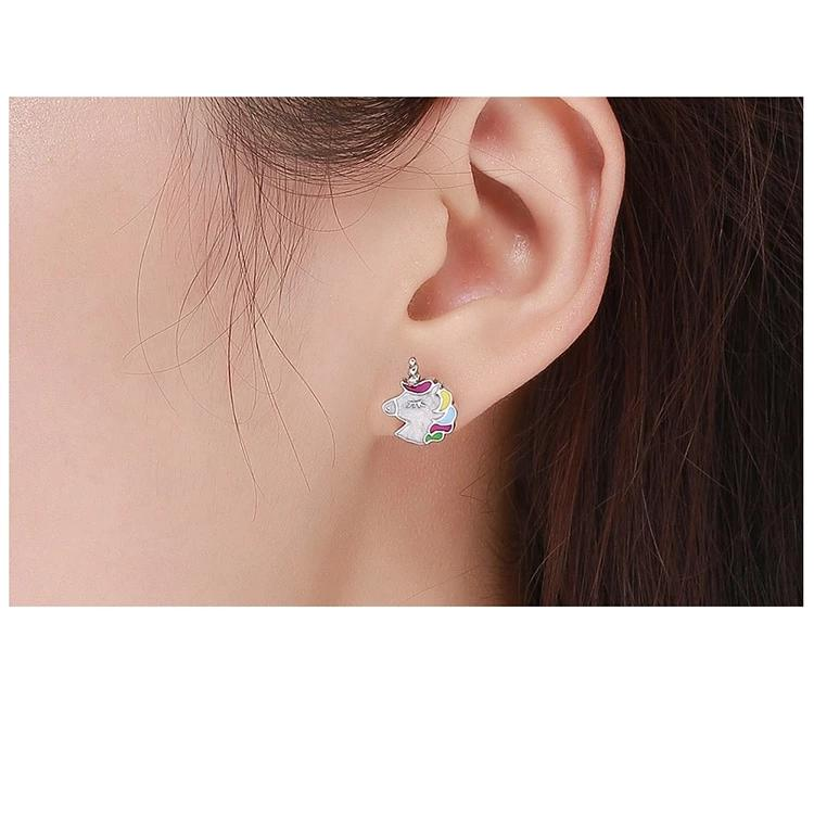 Colorful Unicorn Stud Earrings - 925 Sterling Silver