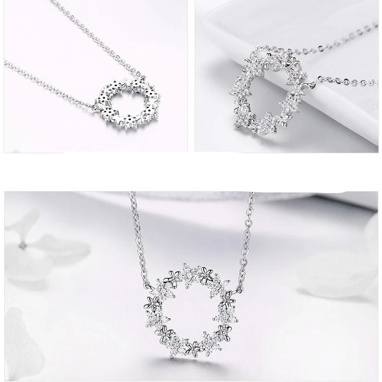 Elegant 925 Sterling Silver Shining Star Round Shape Pendants Necklaces Women Wedding Jewelry Collar