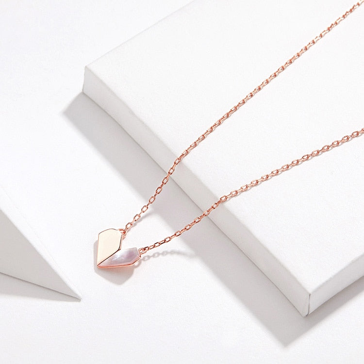 Heart Shell Choker Necklace Women 925 Sterling Silver Short Chain Rose Gold Color Jewelry
