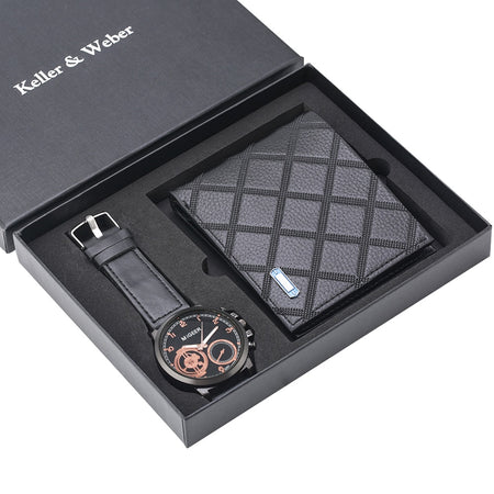 Men's Geometric Leather Wallet and Watch Set