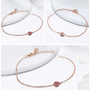 Sterling Silver Rose Gold Romantic Heart Chain Link Bracelet Women Adjustable Lobster Clasp Jewelry