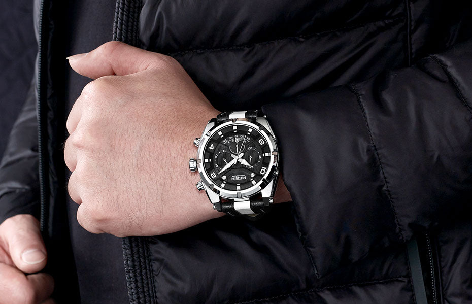 Men' Chronograph Quartz Watch With Luminous Hands And Analogue Dial - GiftWorldStyle - Luxury Jewelry and Accessories