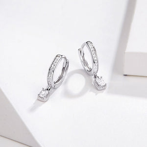 Hoop Earrings With Charm Solid Sterling Silver 925 CZ