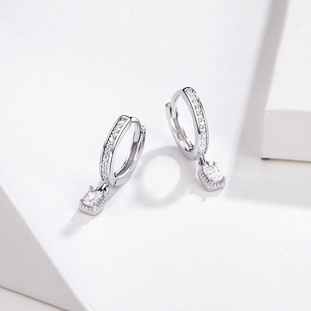 Hoop Earrings With Charm Solid Sterling Silver 925 CZ - GiftWorldStyle - Luxury Jewelry and Accessories