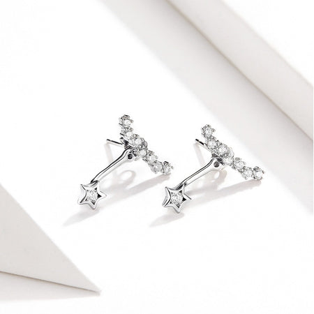Dazzling Stars Earrings - Clear CZ, 925 Sterling Silver - GiftWorldStyle - Luxury Jewelry and Accessories