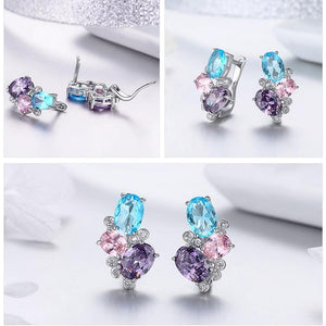 Colorful Zircon Geometric Stud Earrings - 925 Sterling Silver