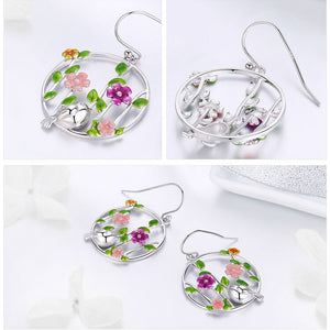 Genuine 925 Sterling Silver Blooming Forest Birds Secret Drop Earrings for Women Jewelry