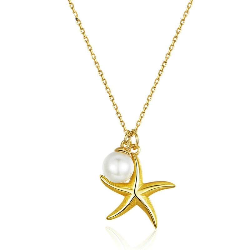 Starfish Pearl Pendant Necklace For Women - 925 Sterling Silver