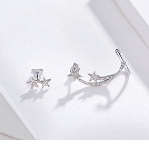 Star Comet Asymmetry Stud Earrings Women Clear CZ Bright Meteor Ear Stud 925 Sterling Silver Jewelry
