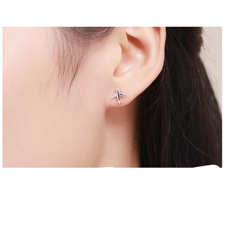 Exquisite Mini Airplane Aircraft Stud Earrings - 925 Sterling Silver