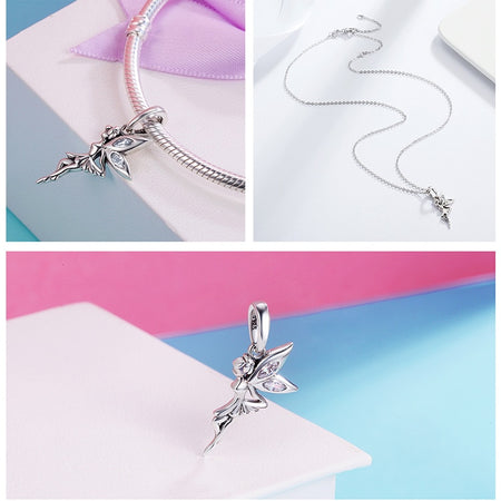Flower Fairy Pendant Necklace - 925 Sterling Silver