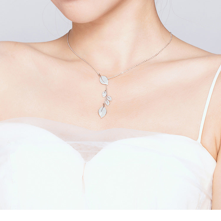 Leaf Necklace Pendant With Clear CZ - 925 Sterling Silver