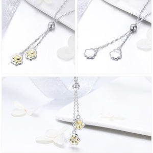 Collection 925 Sterling Silver Cute Footprints Long Chain Pendant Necklaces Women Sterling Silver Jewelry