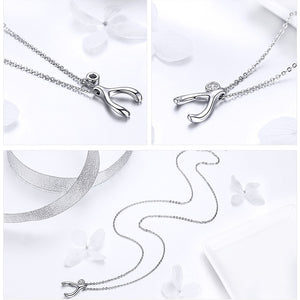 Lucky Guardian Wishbone Pendant Necklace - 925 Sterling Silver
