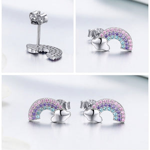 925 Sterling Silver Colorful Zircon Rainbow Exquisite Stud Earrings Women Party Earring Jewelry