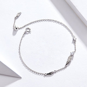Feather Chain Bracelet Sterling Silver 925 Link Bohemia Style Zironia Jewelry Summer Girl