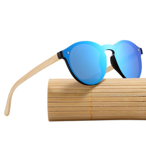 Round Bamboo Sunglasses With Anti-Reflective Protection And Polycarbonate - GiftWorldStyle - Luxury Jewelry and Accessories