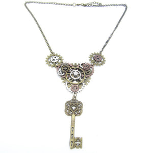DIY Steampunk Necklace With Vintage Key And Mechanical Mixed Gear - GiftWorldStyle - Luxury Jewelry and Accessories