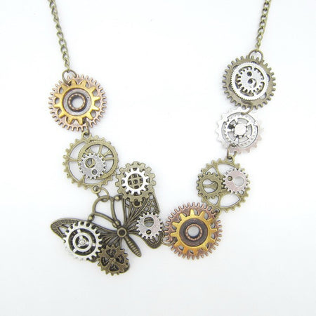 Multi Gears Steampunk Necklace With Vintage Butterfly,Punk Style