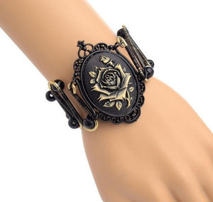Women`s Steampunk Bracelet With Punk Style Black Rose - GiftWorldStyle - Luxury Jewelry and Accessories