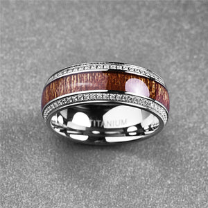 Men's CZ Wooden-Titanium Ring - GiftWorldStyle - Luxury Jewelry and Accessories