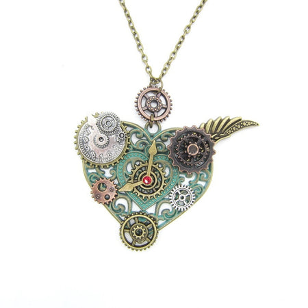 Steampunk Necklace With DIY Various Gears And Heart Pendant - GiftWorldStyle - Luxury Jewelry and Accessories