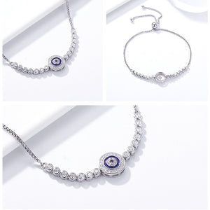 Authentic 925 Sterling Silver Blue Eye Tennis Bracelet for Women Adjustable Chain Sterling Silver Jewelry